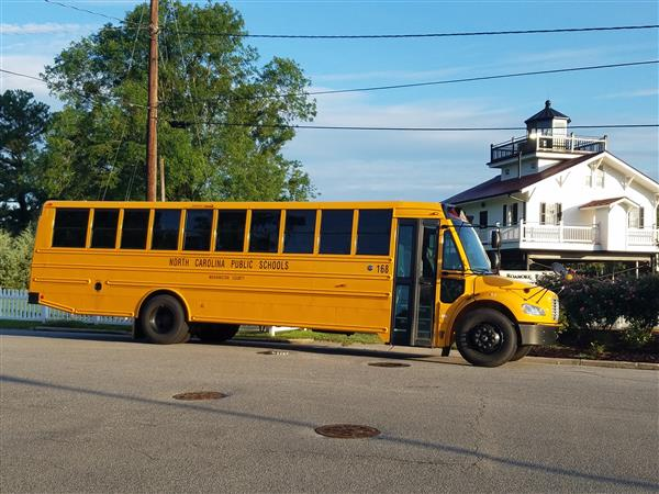 Washington Co School Bus at Roanoke River Lighthouse